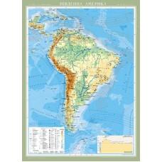Південна Америка. Фізична карта, м-б 1:8 000 000
