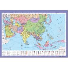 Азія (Центральна, Південно-Західна, Південна, Південно-Східна та Східна частини). Політична карта, м-б 1:8 000 000 (на планках)