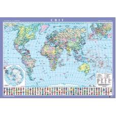 Світ. Політична карта, м-б 1:22 000 000 (на картоні на планках)