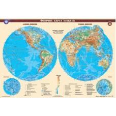 Фізична карта півкуль, м-б 1:24 000 000 (на картоні на планках)