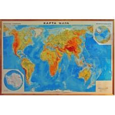 Карта світу, м-б 1:15 000 000 (в дерев'яній рамі)