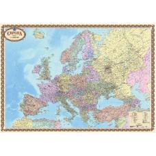 Європа. Політична карта, м-б 1:4 000 000 (на картоні на планках)