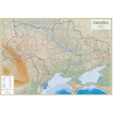 Україна. Гіпсометрична карта, м-б 1:500 000 (на картоні, на планках)