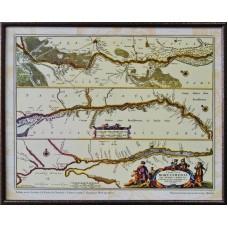 Карта течії Дніпра від Києва до Очакова і Чорного моря Ґ. Боплана(1660-ті роки) (в рамі)