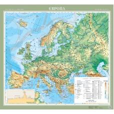 Європа. Фізична карта ламінована, м-б 1:5 000 000 (на картоні, на планках)