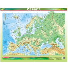 Європа. Фізична карта, м-б 1:12 000 000 (ламінована)