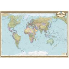 Political map of the World на картоні офісна, м-б 1:22 000 000 (на планках)