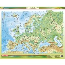 Європа. Фізична карта, м-б 1:12 000 000 (ламінована на планках)