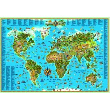Карта світу для дітей на картоні (на капі в рамі)