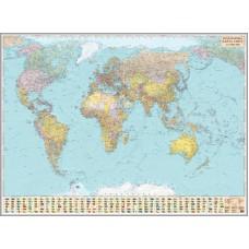 Політична карта світу, м-б 1:15 000 000 (на картоні, на капі, в багеті)