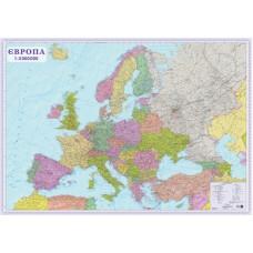 Європа. Політична карта, м-б 1:3 000 000 (2 аркуші, на картоні, на планках)