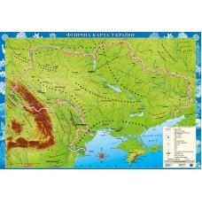 Украіна. Фізична карта. Для початкової школи, м-б 1:1 000 000 (на картоні на планках)